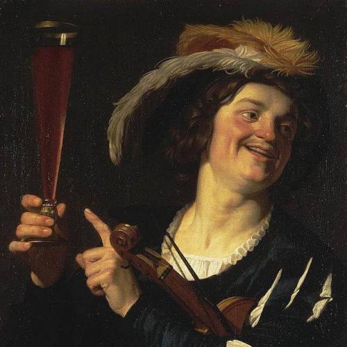Gerrit van Honthorst (1590 - 1656), Le violoniste au verre de vin..jpg
